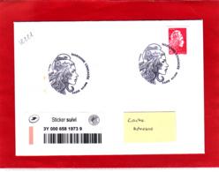 Marianne L'engagée Non Dentelé TVP Rouge + Sticker (0.40) / Lettre Circulée / Obl PJ 09/11/18 / - 2018-... Marianne L'Engagée