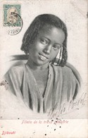 Djibouti Fillette De La Tribue Assaorta Cpa Voyagée + Timbre  Cote Française Des Somalis Cachet 1905 - Djibouti