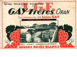 BUVARD L.G.E. GAY FRERES ORAN Vins Rouges Rosés Blancs - Alimentaire