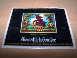 étiquette Vin Wine Label Fantastique épouvante Sorciere Balai Chauve Souris Witch Alsace - Collections & Sets
