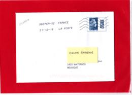 F 2018 / YT 5257 A / Marianne L'engagée Non Dentelée Datamatrix  Sur Lettre Voyagée Obl 31.12.18 Dernier Jour Du Tarif - 2018-... Marianne L'Engagée
