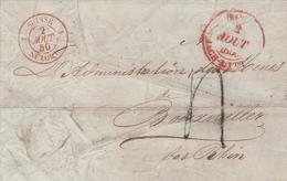 Cachet D'entrée Suisse St Louis Sur Lettre Basel 1850 - Poststempel (Briefe)