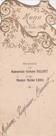 BA / 2 MENUS 8 (16) X18 . 1/ V.C. 02/07/1931 -2/ Mariage VALLUET-CAREL 15/10/1932 (Belle Découpe & Dorures Style 1930) - Menus