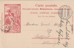 Suisse Cachet Lame De Rasoir Neuchatel Sur Entier Postal Pour L'Allemagne 1900 - Entiers Postaux