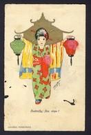 Butterfly, Five Steps - Japanese Geisha Girl, Lanterns, Hand Colored Artist ? - Künstlerkarten