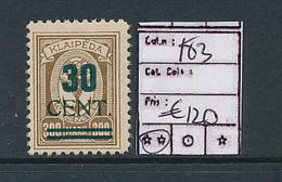 LITHUANIA MEMEL YVERT  183 LH - Litauen