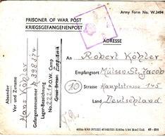 PRISONNIER DE GUERRE ALLEMAND EN BELGIQUE CAMP LAGER 2221 VILVOORDE VERS MULSEN CENSURE PW  CENSOR  504 - Militaria