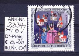 """21.1.2000  -  SM  """"Volksbrauchtum U- Volkskundl. Kostbarkeiten - Kirchleintrag"""" - O Gestempelt  -  S. Scan (2334o 01-33) - 1991-00 Usados"""