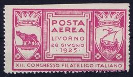ITALY POSTA AEREA LIVORNO 1925  XII CONGRESSO FILATELICIO ITALIANO - 1900-44 Victor Emmanuel III