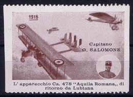 ITALY  AEREA 1918 CAPITANO SALOMONE  LUBIANA - 1900-44 Vittorio Emanuele III