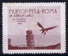 ITALY  AEREA  PARIGI PISA ROMA 1911 VIGNET - 1900-44 Victor Emmanuel III