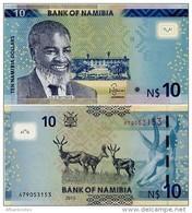 NAMIBIA       10 Dollars       P-16       2015       UNC - Namibia