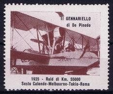 ITALY  AEREA  GENNARIELLO DI DE PINEDO 1924 RAID DI KM 55000 SESTE CALENDE MELBOURNE TOKIO ROMA VIGNET - 1900-44 Victor Emmanuel III