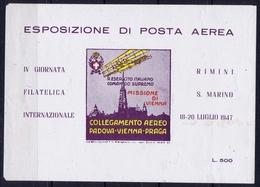 ITALY  ESPOSIZIONE DI POSTA AEREA   MISSIONE DI VIENNA   RIMINI S. MARINO 1947 - Luchtpost