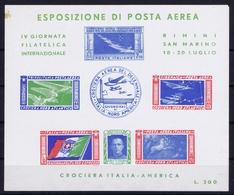 ITALY  ESPOSIZIONE DI POSTA AEREA   IV GIORNATA FILATELICA  CROCIERA ITALIA - AMERICA   RIMINI S. MARINO 1947  SPOT - 1900-44 Victor Emmanuel III