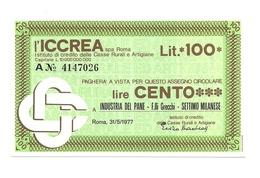 1977 - Italia - ICCREA - Industria Del Pane - F.lli Grecchi - Settimo Milanese - [10] Scheck Und Mini-Scheck