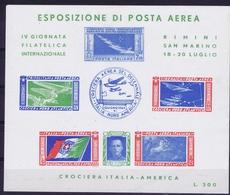 ITALY  ESPOSIZIONE DI POSTA AEREA   IV GIORNATA FILATELICA  CROCIERA ITALIA - AMERICA   RIMINI S. MARINO 1947 - 1900-44 Victor Emmanuel III