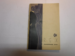 GENOVA  ---  NAVE  REX  --- PASSENGER  LIST   -- 1935 - Italie