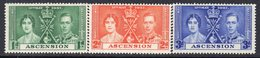 Ascension Island GVI 1937 Coronation Set Of 3, Hinged Mint, SG 35/7 (A) - Ascension