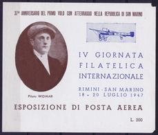 ITALY  ESPOSIZIONE DI POSTA AEREA   IV GIORNATA FILATELICA    RIMINI S. MARINO 1947 - 1900-44 Victor Emmanuel III