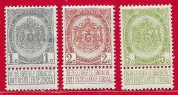 Belgique N°81 1c Gris, N°82 2c Brun, N°83 5c Vert-jaune 1907 * - 1893-1907 Wappen