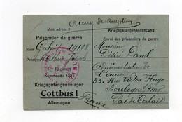 !!! ACCUSE DE RECEPTION D'UN COLIS RECU PAR UN PRISONNIER FRANCAIS AU CAMP DE COTTBUS - Guerre De 1914-18