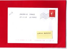 1.00 € Rouge, Cérès Non Dentelé, Sur Lettre Voyagée, Obl 07/11/19, Provenant Du Bloc De 25 T Du Livret Prestige - France