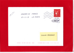 1.00 € Rouge, Cérès Non Dentelé, Sur Lettre Voyagée, Obl 07/11/19, Signé CATELIN Provenant Du Bloc Du Livret Prestige - France
