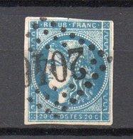 - FRANCE N° 45Ca Oblitéré Losange GC - 20 C. Bleu Foncé Emission De Bordeaux 1870, Type II, Report 3 - Cote 120 EUR - - 1870 Emission De Bordeaux