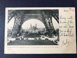 CPA Exposition Universelle Paris 1900 Timbre Type Sage Oblitération Mécanique Double Trocadéro Tour Eiffel - Expositions