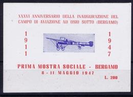 ITALY XXXVI  ANNIVERSARIO DELLA INAUGURAZIONE DEL CAMPO DI AVIAZIONE AU OSIO SOTTO BERGAMO 1947 - Luchtpost