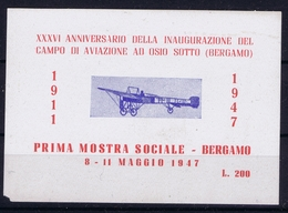 ITALY XXXVI  ANNIVERSARIO DELLA INAUGURAZIONE DEL CAMPO DI AVIAZIONE AU OSIO SOTTO BERGAMO 1947 - 1900-44 Victor Emmanuel III