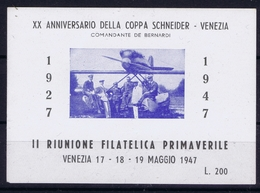 ITALY XX  ANNIVERSARIO DELLACOPPA SCHNIEDER - VENEZIA  1947 - 1900-44 Victor Emmanuel III.