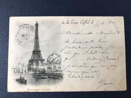 CPA Exposition Universelle Paris 1900 Timbre Type Sage Oblitération Mécanique Double Tour Eiffel Cachet 2ème étage - Expositions