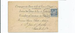 N° 101 Sur Lettre De La Cie Du Chemin De Fer De Paris à Orléans . Service Des Titres Pour St Jean D'Angely 1899 - 1876-1898 Sage (Type II)