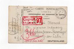 !!! CARTE DU 16/8/1917 ENVOYEE A UN PRISONNIER FRANCAIS AU CAMP DE LIMBURG, EVACUE A RETHEL. CACHET DE CENSURE DU CAMP - Poststempel (Briefe)