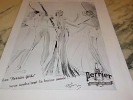ANCIENNE PUBLICITE BONNE ANNEE PERRIER GIRLS   1936 - Perrier