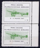 ITALY PRIMA MOSTRA FILATELICA SOCIALE BERGAMO 1947 - 1900-44 Victor Emmanuel III