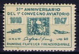 ITALY 37e ANNIVERSARIO DEL 1e CONVEGNO AVIATORIO  1916 - 1947 - 1900-44 Victor Emmanuel III