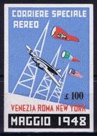 ITALY CORRIERE SPECIALE AEREO VENEZIA ROMA NEW YORK 1948 47 - Luchtpost