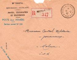 """L- Cachet: """" Poste Aux Armées-avec Numéro """"- -  Avec Etoiles-  *N° 130*- - Marcophilie (Lettres)"""