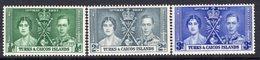 Turks & Caicos Islands GVI 1937 Coronation Set Of 3, Hinged Mint, SG 191/3 (A) - Turks And Caicos