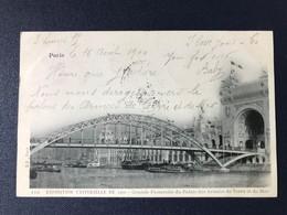 CPA Exposition Universelle Paris 1900 Timbre Type Sage Oblitération Mécanique Double Grande Passerelle Armées Terre Mer - Expositions
