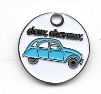 Jeton De Caddie  Argenté  Automobile  CITRÖEN  Deux  Chevaux  Bleu  Clair - Jetons De Caddies
