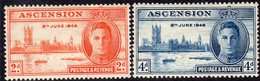 Ascension Island GVI 1946 Victory Set Of 2, Hinged Mint, SG 48/9 (A) - Ascension