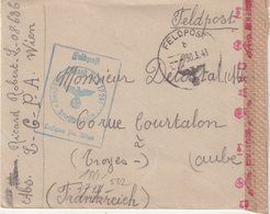 """ALLEMAGNE : GUERRE . EN FM . DE """" WIEN """" . POUR LA FRANCE . CENSUREE . 1943 . - Allemagne"""