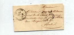 Fragment De Lettre Cachet Doulens  Pye 25 + Paris - 1849-1876: Klassik