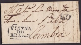 1830. VIANNA DU MINHO A COIMBRA. MARCA VIANNA/DO/MINHO EN NEGRO. PORTEO 50 REIS. BONITA SIN ORIGEN NI FECHA. - Portugal