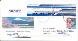 Japan Air Mail Cover Sent To Denmark 26-11-2016 (Shinkansen Bullet Train In Japan) (1 Of The Train Stamps Is Damaged A L - Airmail