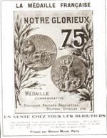"""PUB MEDAILLES  COMMEMORATIVE CANON De 75 """" NOTRE GLORIEUX """" De """" MURAT """" 1915 ( 1a ) - France"""